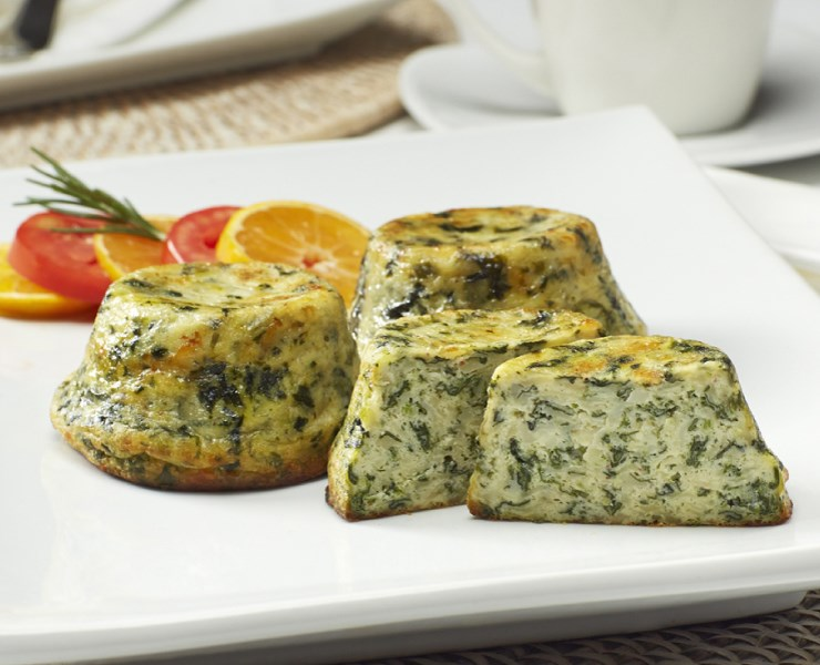 Crustless Quiche:  Sautéed Spinach & Swiss